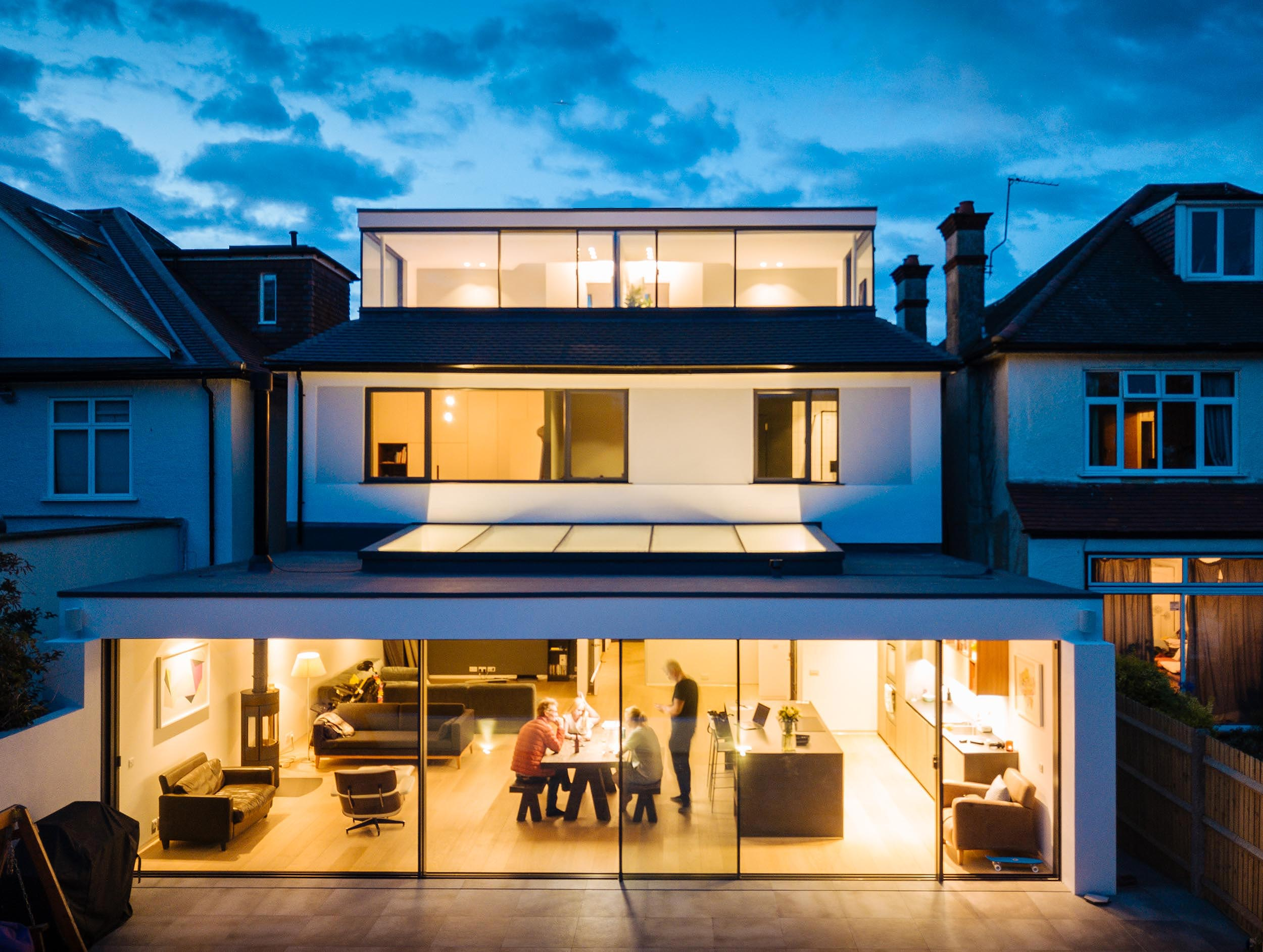 dusk-kitchen-extension-architect-house-aerial-view